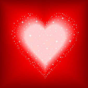 Heart with lights on a red background