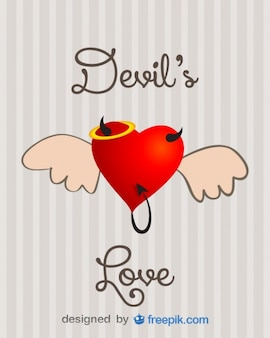 Heart with wings, devil horns and tail card