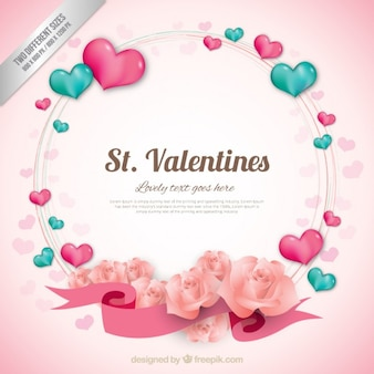 Heart wreath valentine background