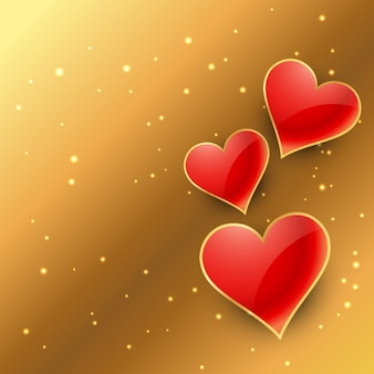 hearts in golden background