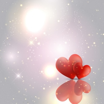 Hearts on a silver glossy background