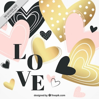 Hearts valentine background with golden details