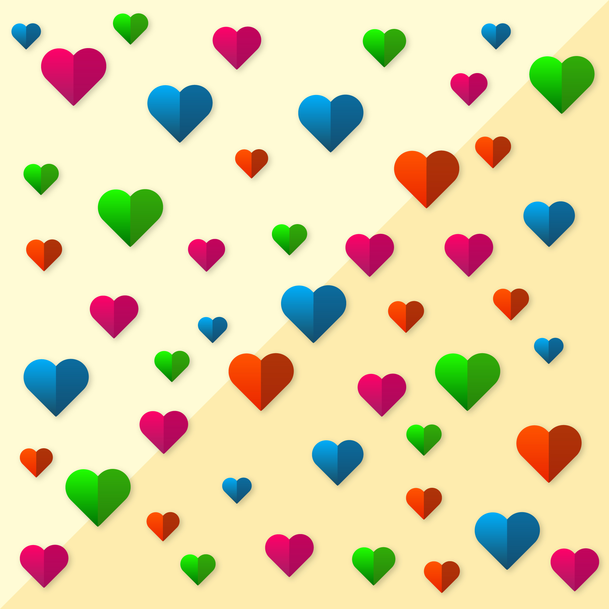 Hearts with different colors