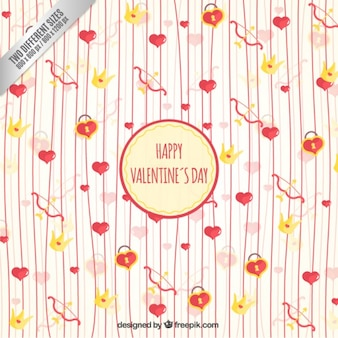 Hearts with lines valentine background