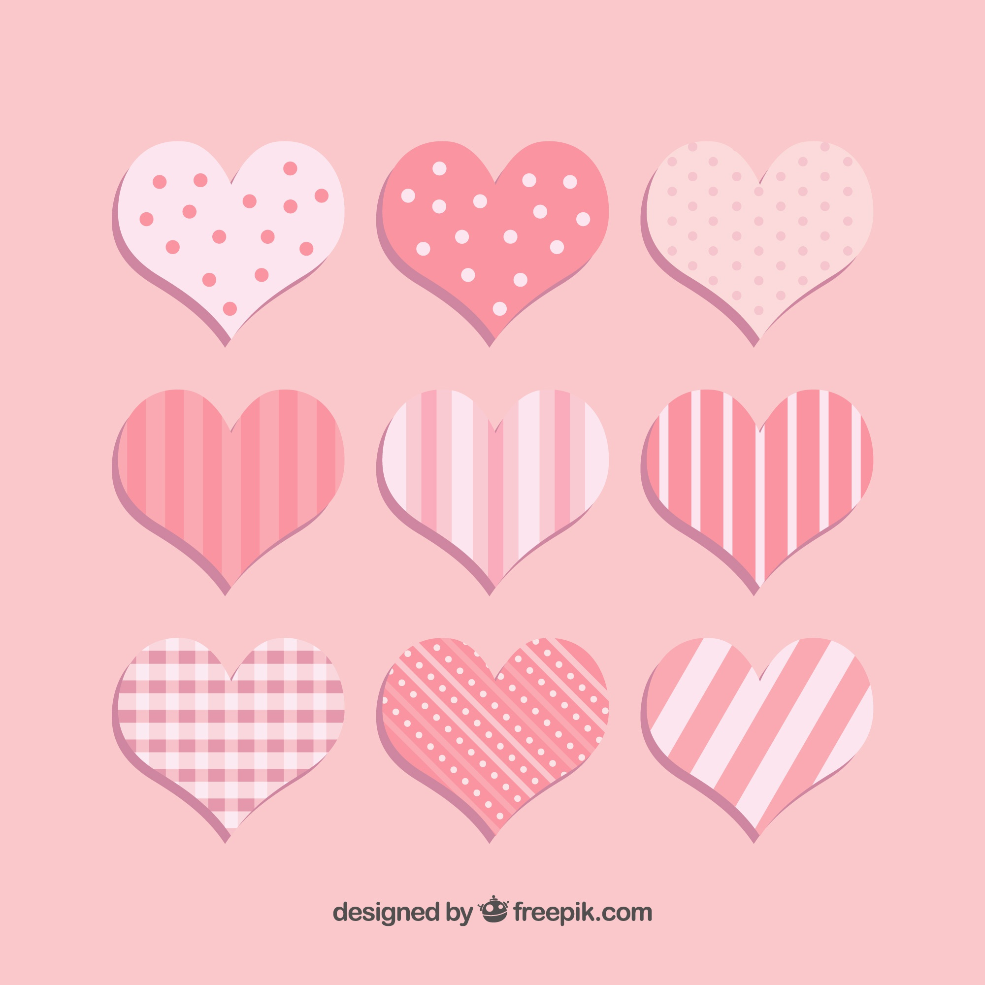Hearts with stripes and dots collection
