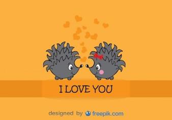 Hedgehogs love - Adorable illustration