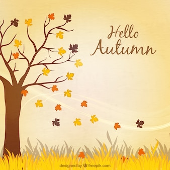 Hello autumn background with a tree