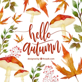 Hello autumn, background with leaves and mushrooms