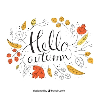Hello autumn background with leaves