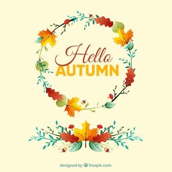Hello autumn background with wreath design