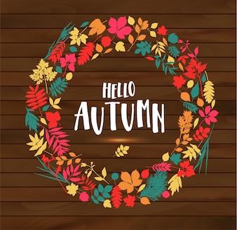 Hello autumn illustration on wooden background