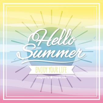 Hello summer background multicolor desgin