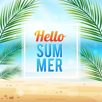 Hello summer background palm tree design