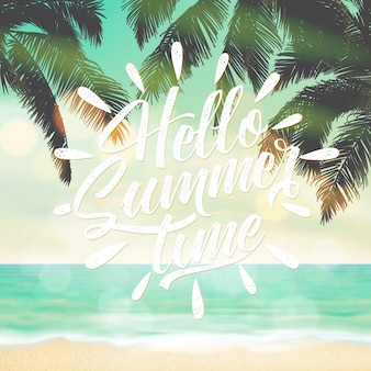 Hello summer background with beach landscape