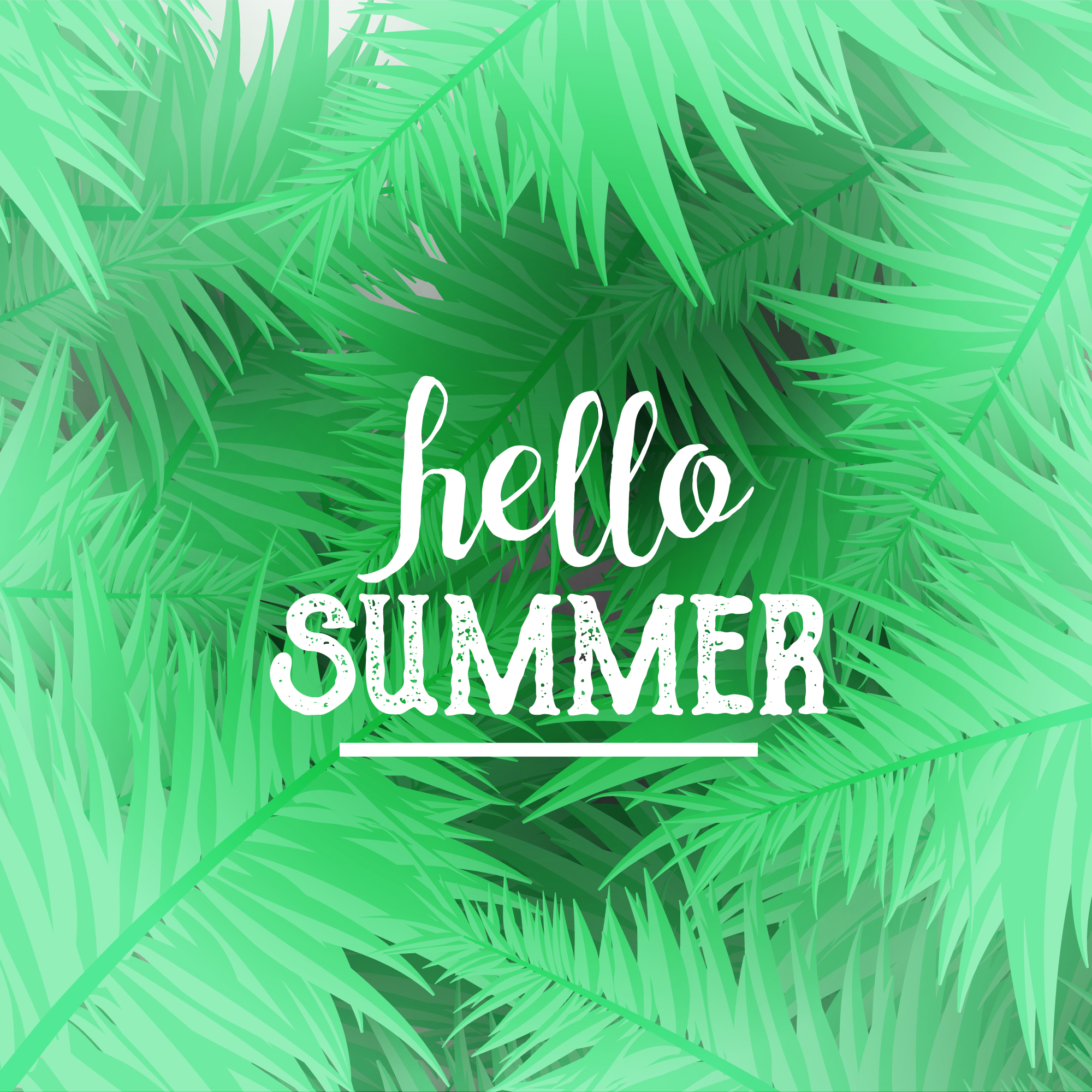 Hello summer background with palm tree design