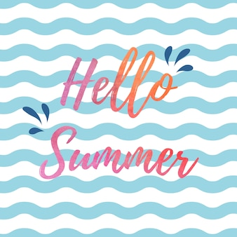Hello summer blue and white waves background design