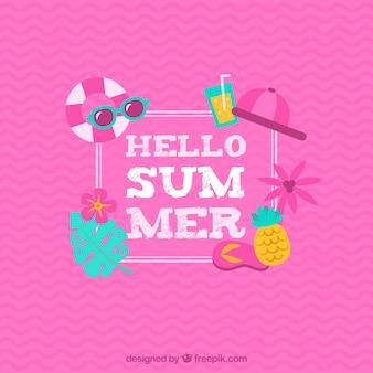 Hello summer pink background