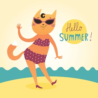 Hello Summer vector card with funny cat