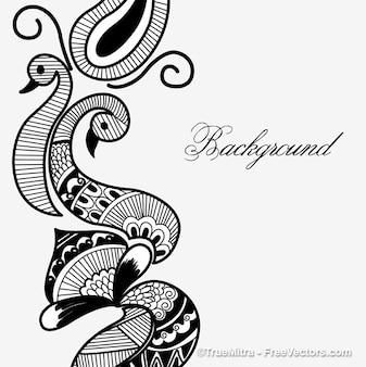 Henna pigeons decorative frame background