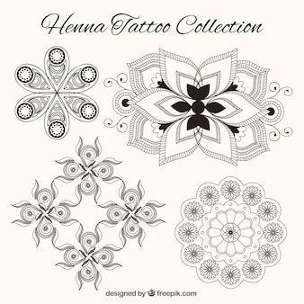 Henna tattoo collection in black and white
