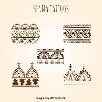 Henna tattoos set