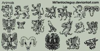Heraldic animals free vector