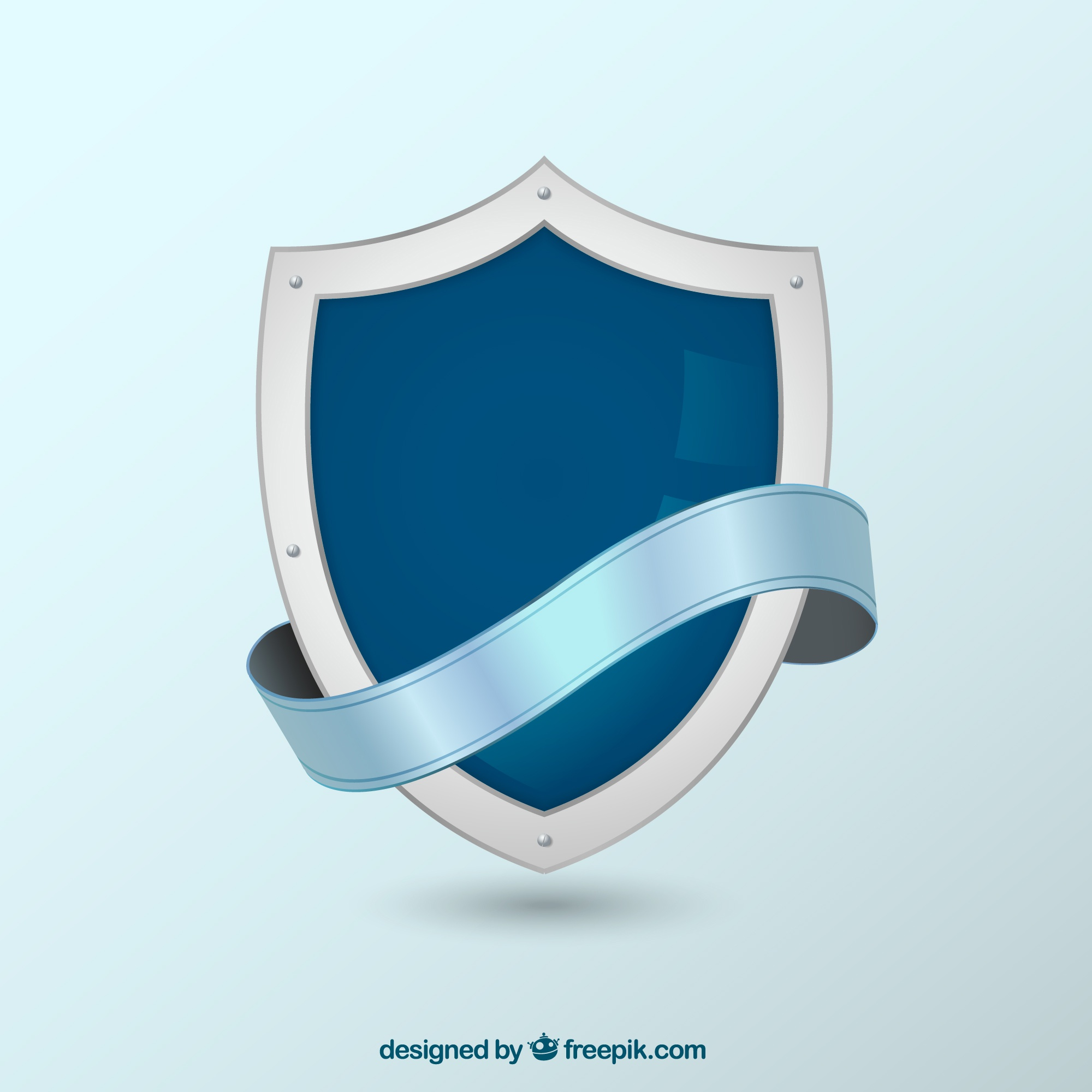 Heraldic shield background with ribbon