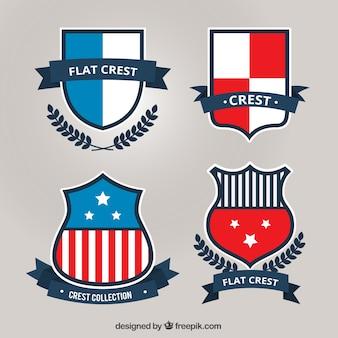 Heraldic shields set in flat design
