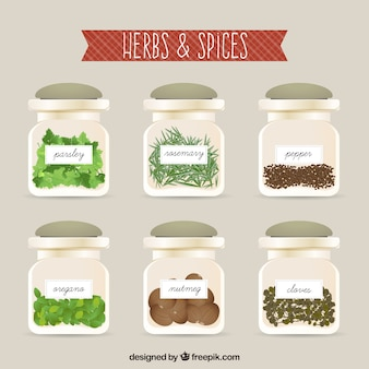 Herbs and spices inside the bottles