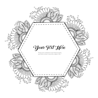 Hexagon Black and White Floral Design