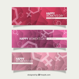 Hexagon woman symbol banners