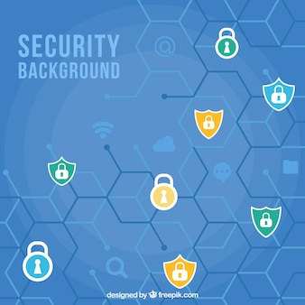 Hexagonal background with security icons
