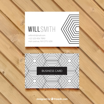 Hexagonal business card in black and white
