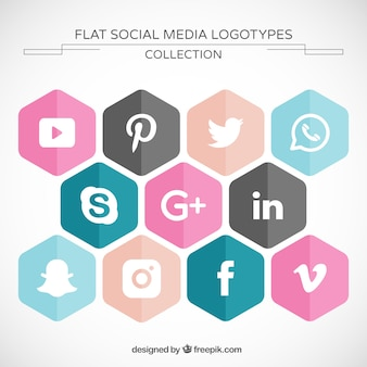 Hexagonal social media icons pack