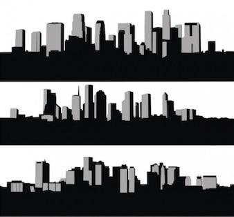 High rise city skyline silhouettes