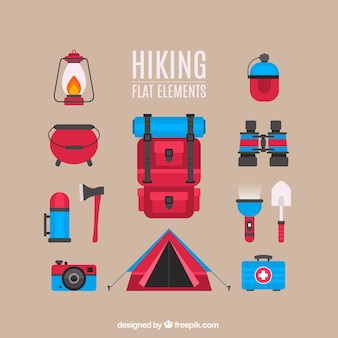 Hiking Flat Elements Collection