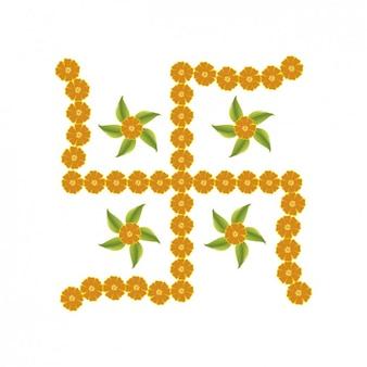 Hinduism Floral Cross