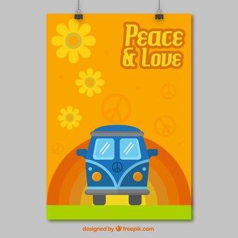Hippie poster with van