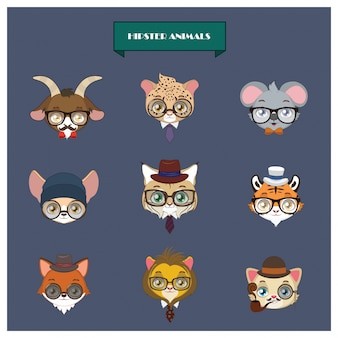 Hipster animals collection
