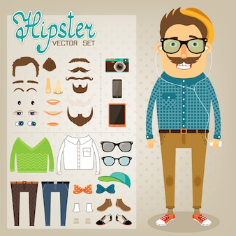 Hipster boy with fantastic accessories