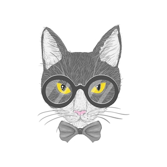 Hipster cat with glasses bow and yellow eyes isolated vector illustration