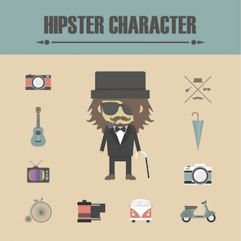 Hipster character elements