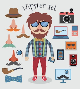 Hipster character pack design elements for boy isolated vector illustration