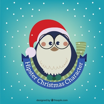 Hipster christmas penguin illustration