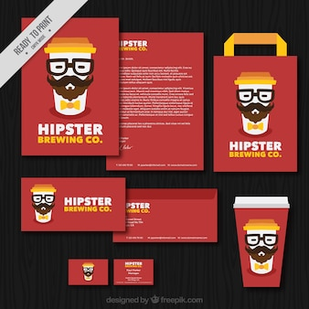 Hipster coffee stationery set