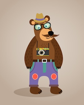 Hipster geek animal teddy bear with glasses mustache and camera vector illustration
