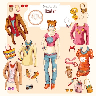 Hipster girl clothes set