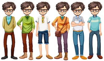 Hipster man in different costumes