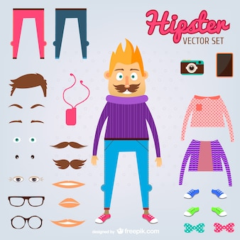 Hipster man vector set