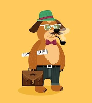 ヒップスター、オタク、子犬、ガラス、パイプ、新聞、スーツケース、ベクトル、イラスト